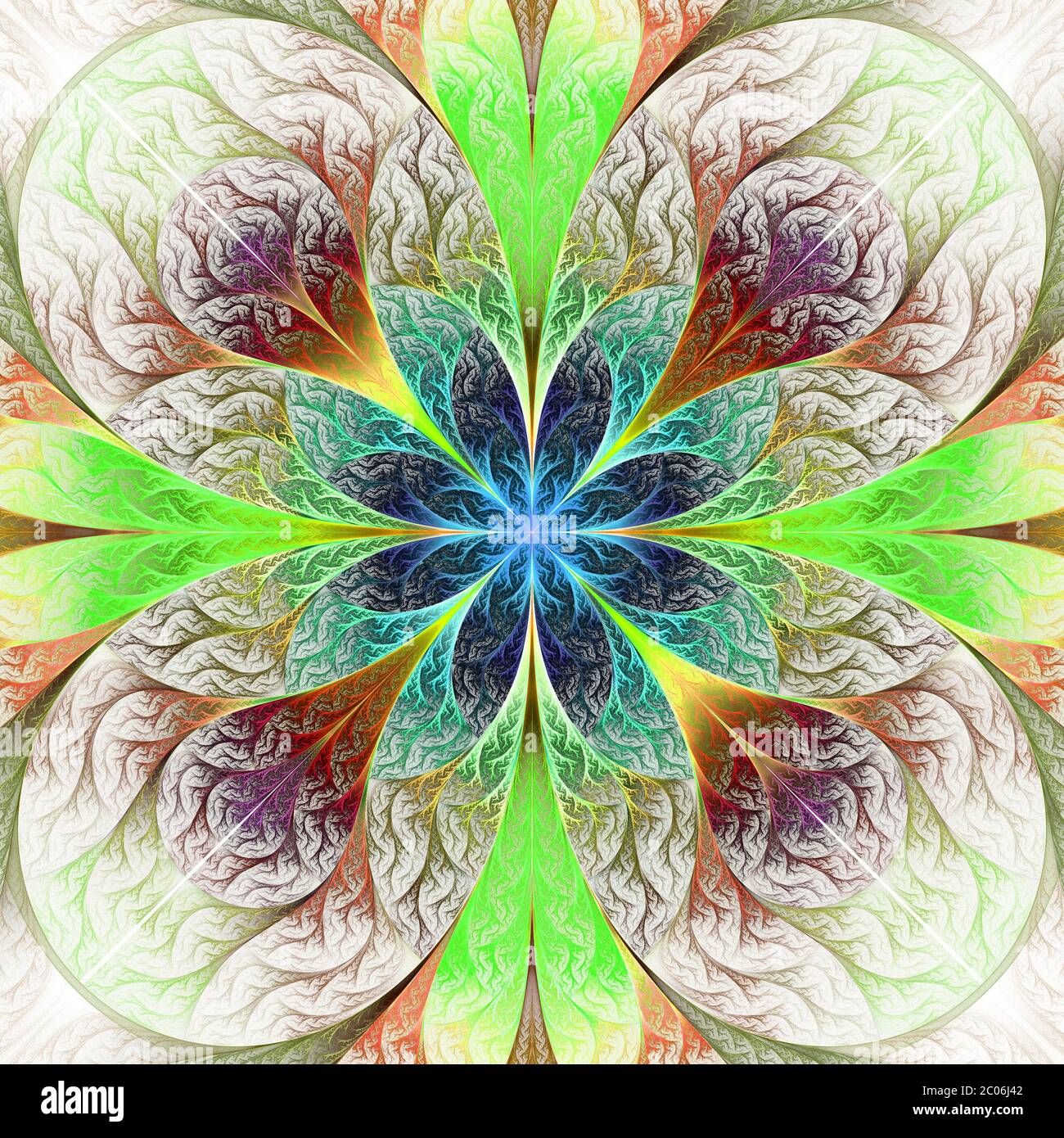 Beautiful fractal flower in brown, blue and green. Computer generated graphics. Stock Photo