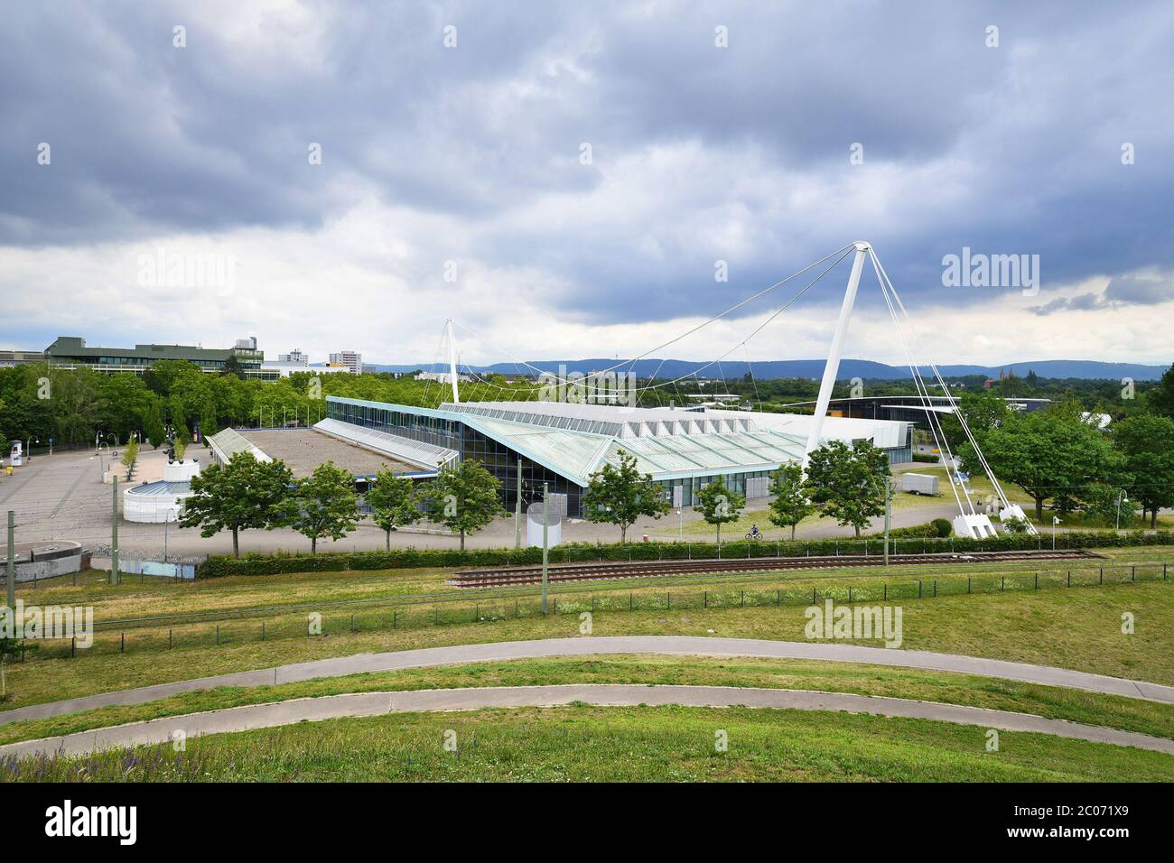 Karlsruhe, Germany - June 2020: Large event hall called 'Europahalle' in Karlsruhe city Stock Photo