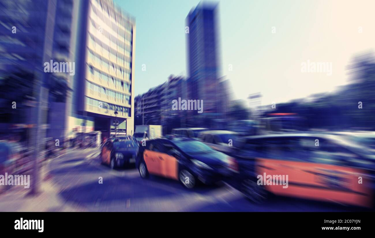 Abstract Background Traffic Blur Motion In Modern City Rush Hour In Barcelona Spain Radial Zoom Blur Effect Defocusing Fi Stock Photo Alamy