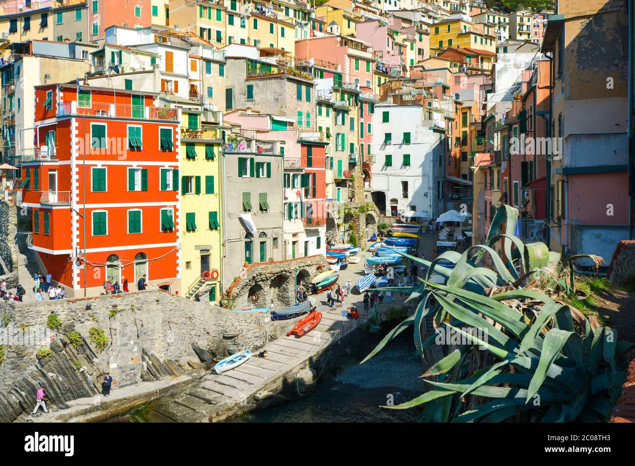 The colorful village of Riomaggiore, Italy, one of the five villages that make up the Cinque Terre. Stock Photo