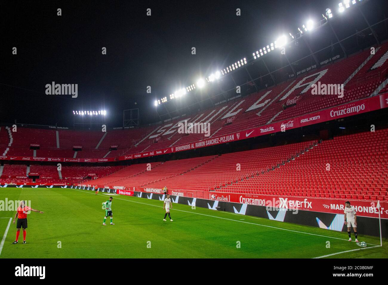 Sevilla 11 06 2020 Primera Division Spanish League Laliga Ramon Sanchez Pizjuan Stadium Sevilla Fc Real Betis Resumption Of Football Matches In Spain After Three Months Postponed By The Golbal Pandemic Of Covid 19 Game
