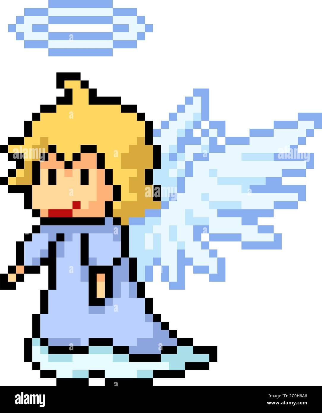 Vector Pixel Art Angel Heaven Isolated Cartoon Stock Vector Image Art Alamy