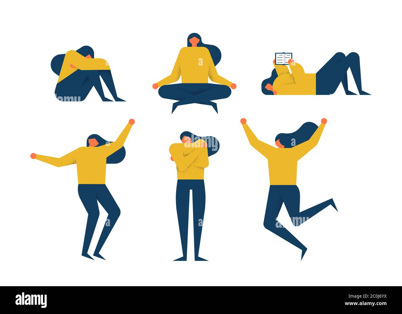 Young Woman Doing Diverse Poses Leisure Activity And Emotion On Isolated Background Includes Depression Yoga Meditation Dancing Reading Book Stock Vector Image Art Alamy