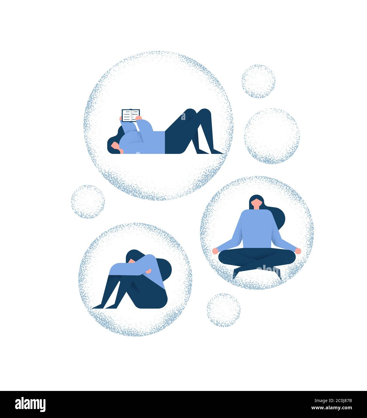 Woman Self Isolation Girl Trapped In Bubble For Psychology Or Mental Health Concept Includes Reading Book Yoga Exercise And Depression Stock Vector Image Art Alamy