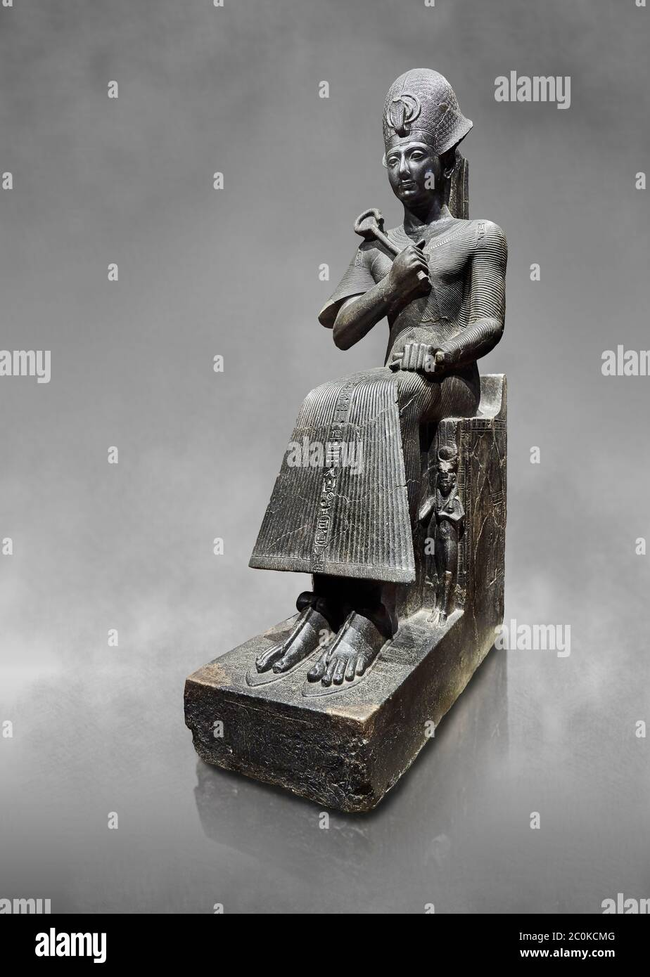 Ancient Egyptian statue of Ramesses II. granodiorite, New Kingdom, 19th Dynasty, (1279-1213 BC), Karnak, Temple of Amon. Egyptian Museum, Turin. Grey Stock Photo
