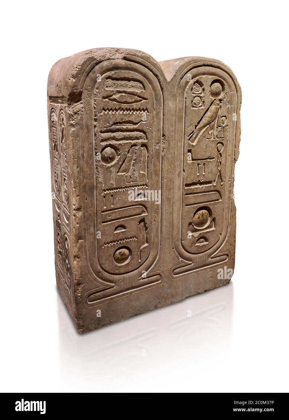 Ancient Egyptian architectonic element of the temple of Aten, Karnak, limestone, New Kingdom 18th Dynasty (1353-1336 BC). Egyptian Museum, Turin. whit Stock Photo