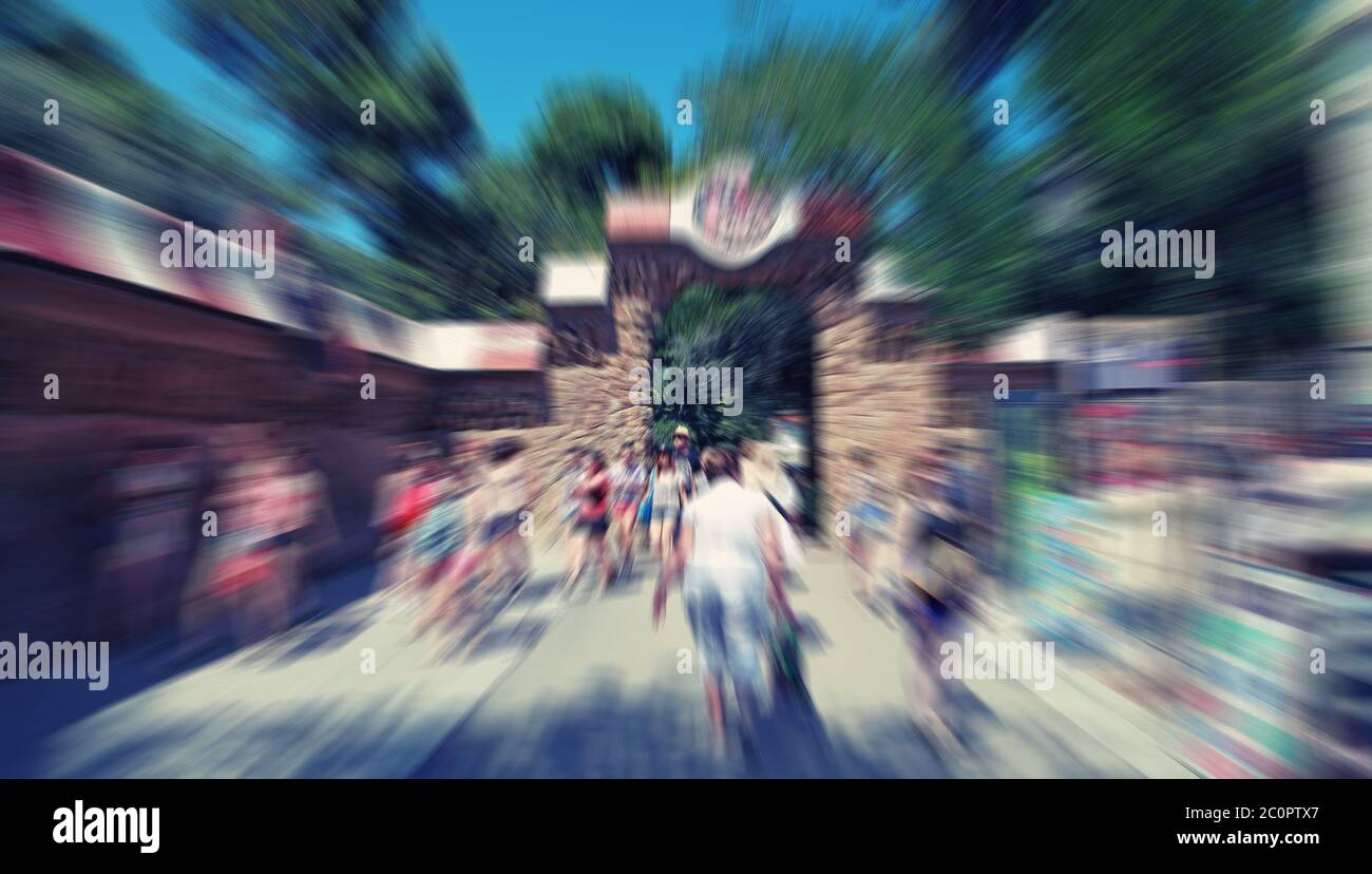 Abstract Background Pedestrians Walking Rush Hour In Barcelona Park Guell Spain Radial Zoom Blur Effect Defocusing Filter Stock Photo Alamy
