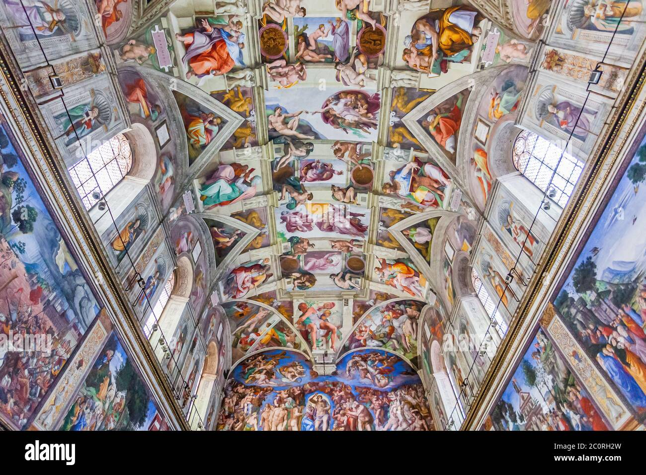 Rome, Italy - November 3, 2019: Ceiling of the Sistine chapel in the Vatican museum. Stock Photo