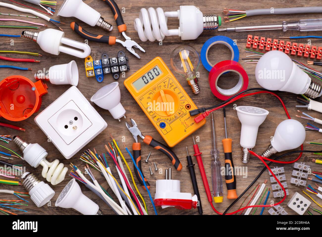 Electrician Equipment On Wooden Background Top View Stock Photo Alamy