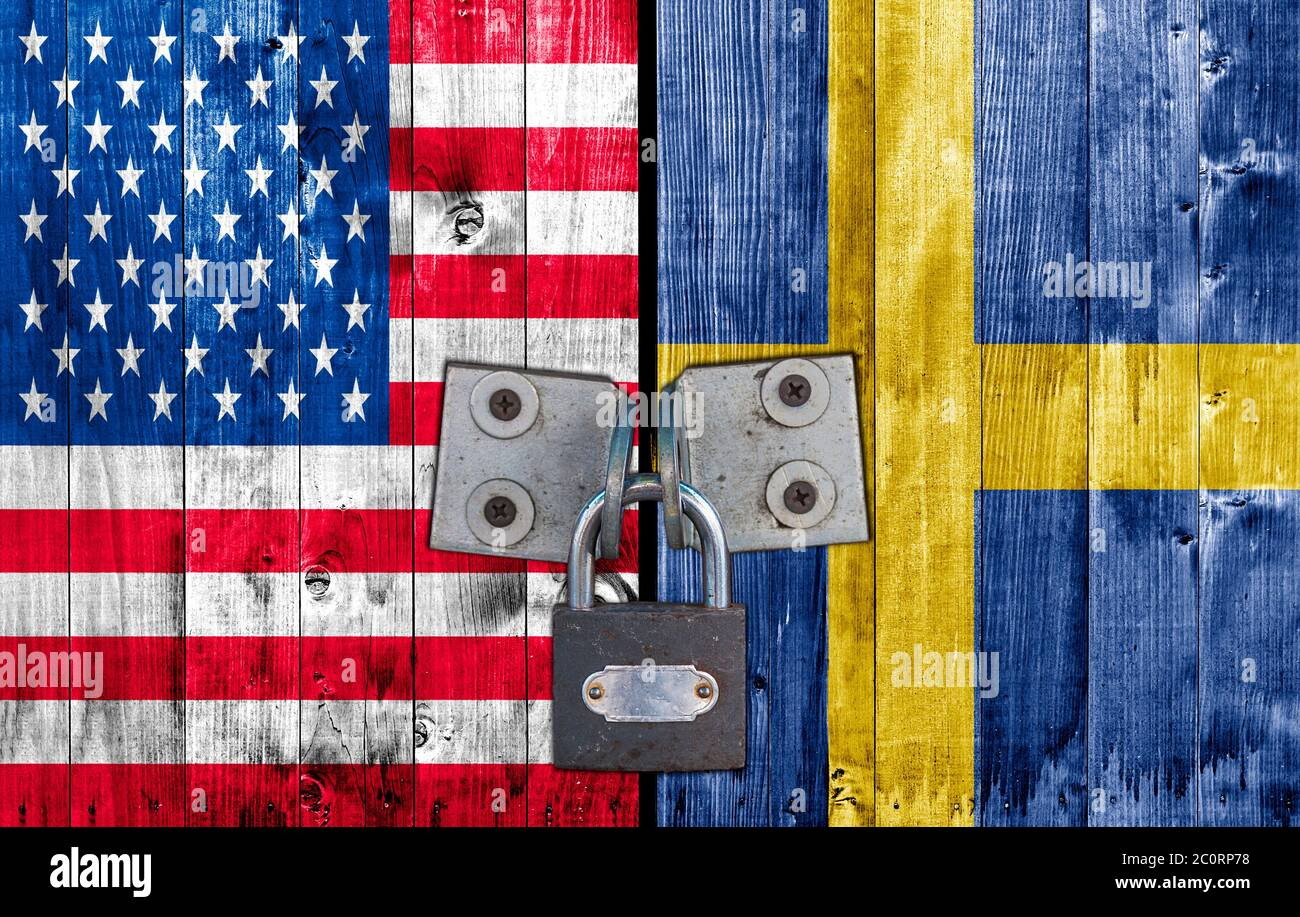 US and  Sweden flag on door with padlock Stock Photo