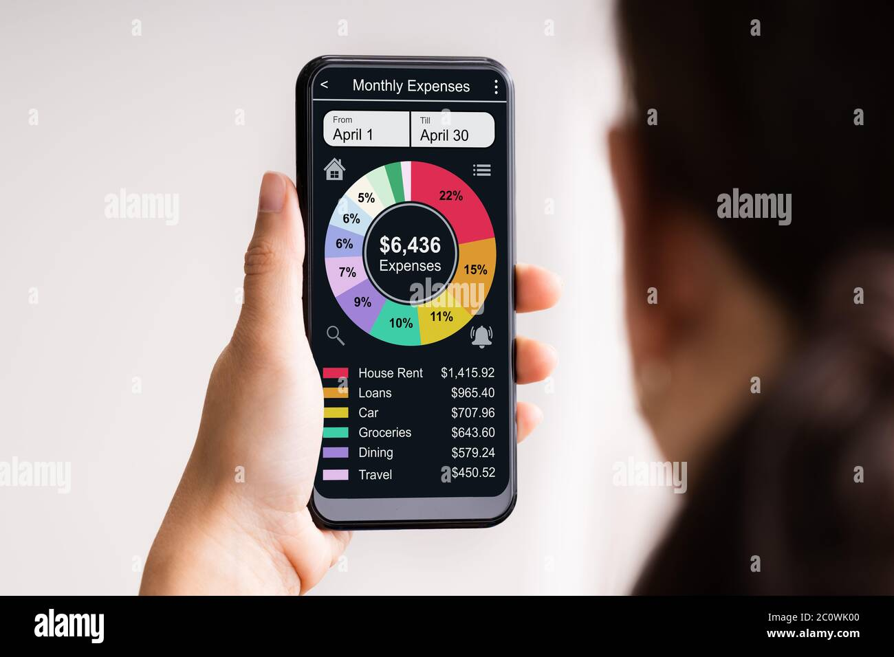 Online Bank Mobile Phone App For Money Tracking Stock Photo