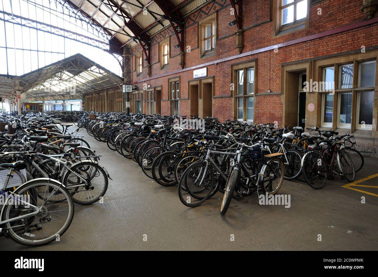 Bicycle park at Bristol Temple Meads Station. Stock Photo
