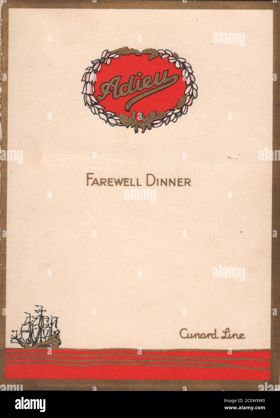 SS Aurania Farewell Dinner Menu - 28 June 1929 Stock Photo