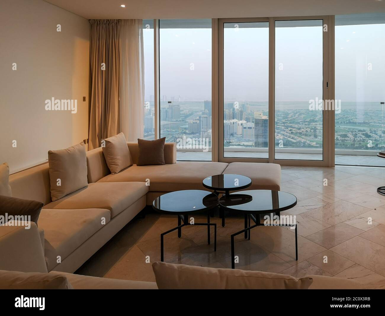 Private Luxurious Hotel Apartment On A High Floor In A Tower Modern Design Dubai Luxury Stock Photo Alamy