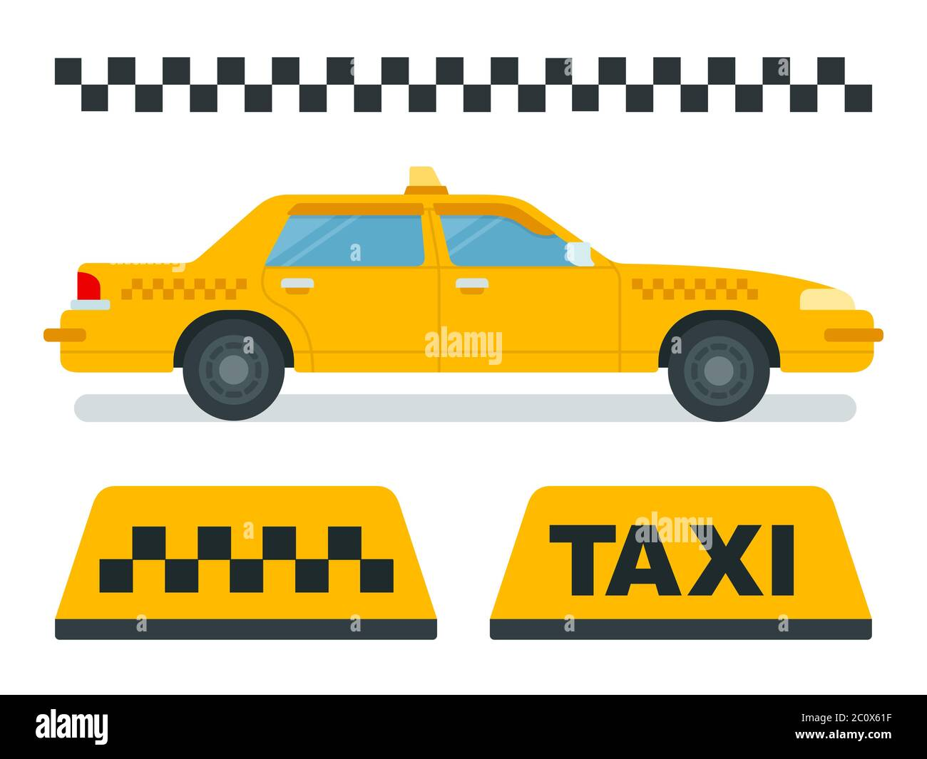 concept taxi, yellow car, checkered taxi vector icons in flat design stock  vector image & art - alamy  alamy