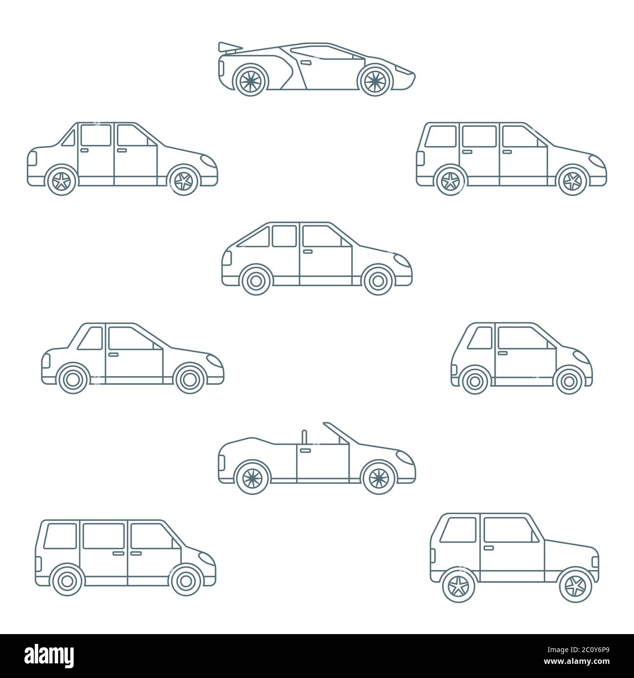 Dark Outline Various Body Types Of Cars Icons Collection Stock Photo Alamy