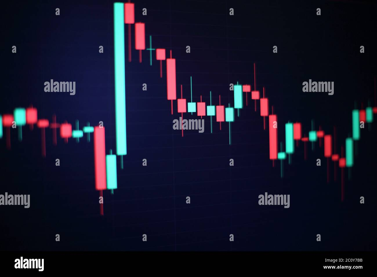 Currencies trading via digital info with stock market graph background. Blockchain, Financial Internet Technology as a new trend marketing. Stock Photo
