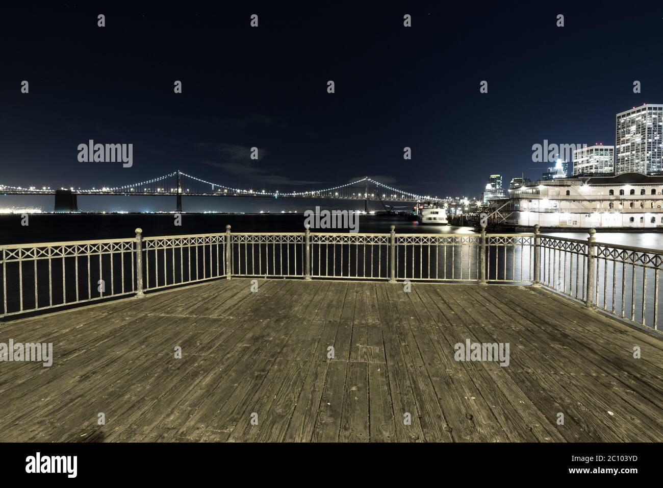 empty floor with suspension over water in san francisco at night Stock Photo