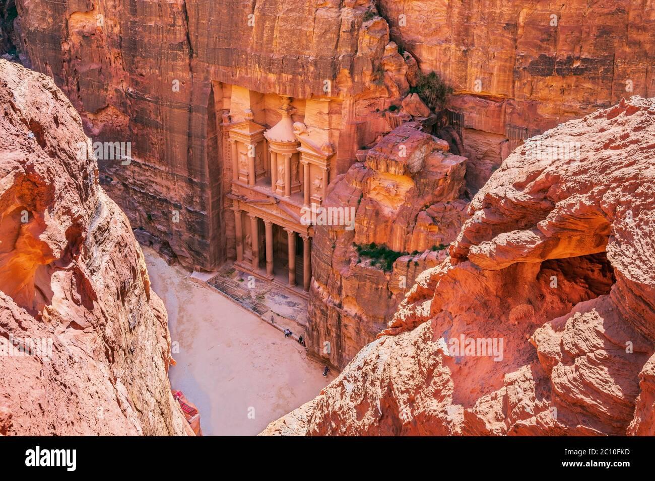 Petra, Jordan. Al-Khazneh (The Treasury) in Petra seen from above. Stock Photo
