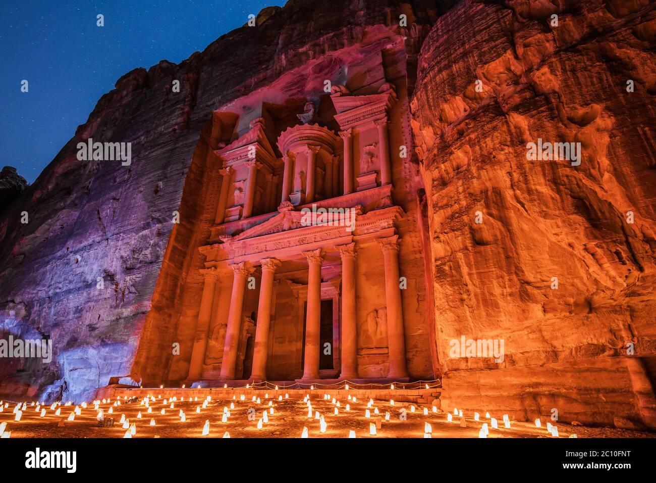 Petra, Jordan. Al-Khazneh (The Treasury) in Petra at candle light. Stock Photo