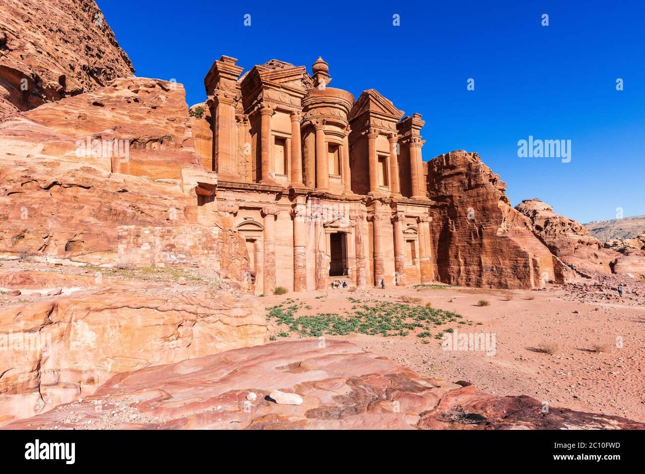 Petra, Jordan. Al-Khazneh (The Treasury) in Petra, the capital of the ancient Nabatean Kingdom. Stock Photo