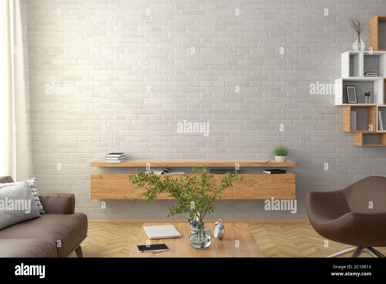 Blank White Brick Wall Mock Up In The Living Room 3d Rendering Stock Photo Alamy