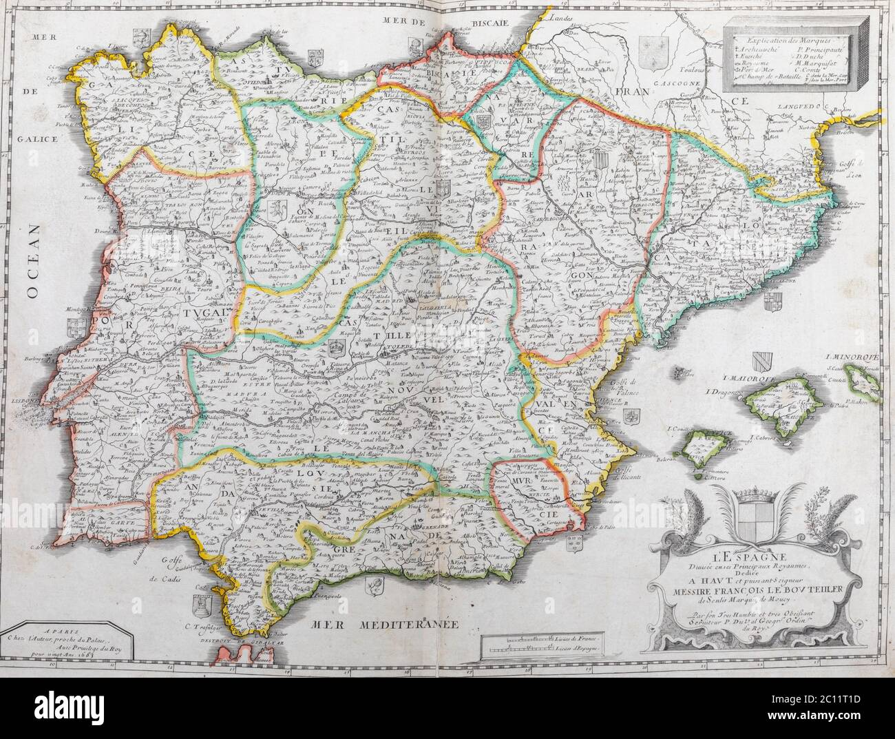 Picture of: Old Map Of Spain And Portugal From An 1656 Atlas Of Geography From P Du Val France Private Collection Stock Photo Alamy