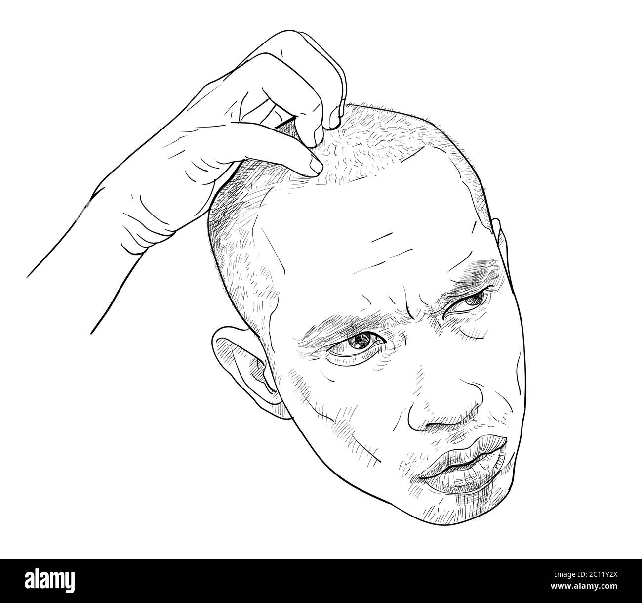 Draw funny portrait of a man, wondering and confused facial expressions. An Asian man scratched his head. Vector illustration. Stock Vector