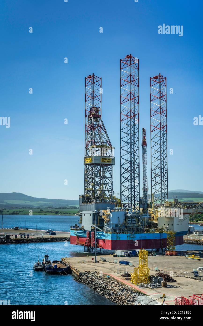 Offshore oil drilling platforms anchored in Cromarty Firth near Invergordon, Scotland, United Kingdom, Europe. Stock Photo