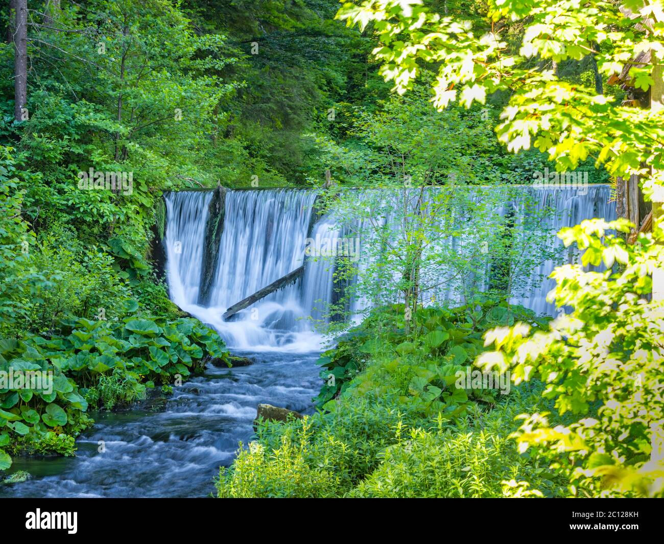 Lake with waterfall and derelict old sawmill and watermill Cogrljevo jezero Croatia Europe Stock Photo