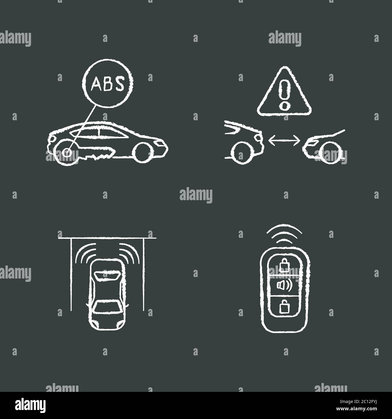 Smart driving safety systems chalk white icons set on black background Stock Vector