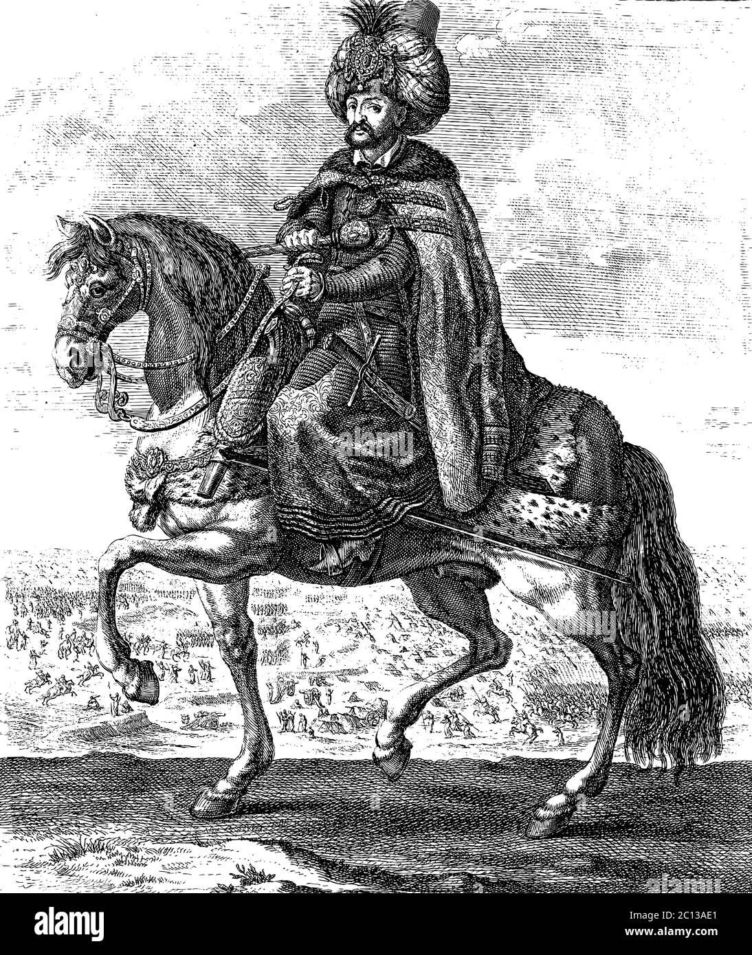 Ottoman Sultan riding a horse, vintage engraving vector illustration Stock Vector