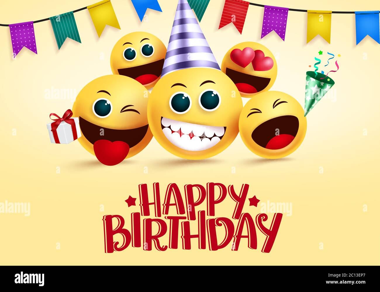 Birthday Smiley Emojis Vector Greeting Happy Birthday Greeting Text In Empty Space For Messages With Yellow Smileys Emoji And Party Elements Stock Vector Image Art Alamy