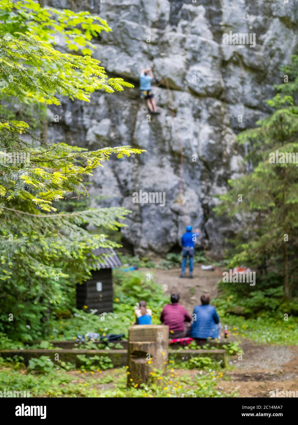 Freeclimbers freeclimbing practising in nature Golubinjak Lokve Croatia Europe people are intentionally out of focus slightly blurred Stock Photo