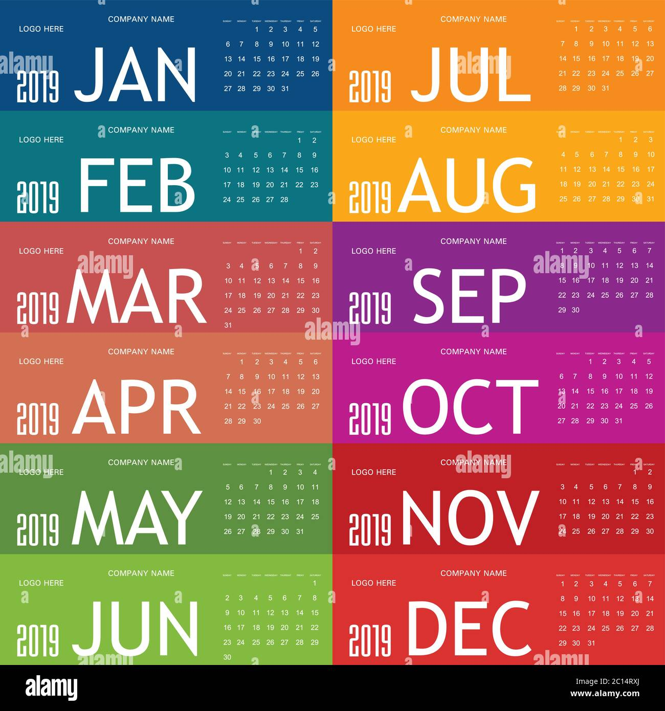 calendar for year 2019 in colorful illustration Stock Vector