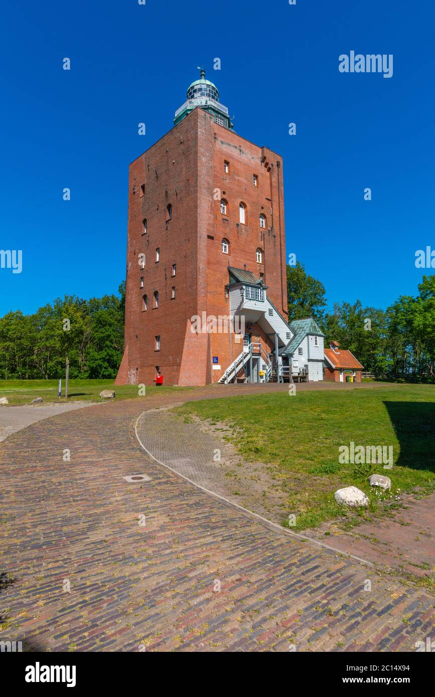 Oldest lighthouse of Germany, built in 1380, North Sea island of Neuwerk, Federal State of Hamburg, North Germany, Unesco World Heritage Stock Photo