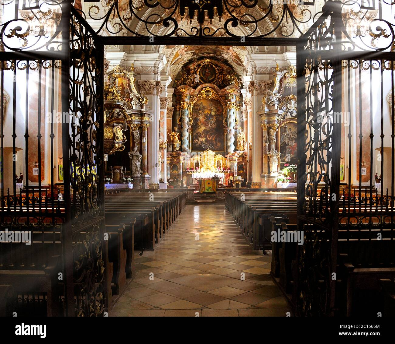 DE - LOWER BAVARIA: Interior of St. Michael's Klosterkirche at Metten (Benedictine Monastery) Stock Photo