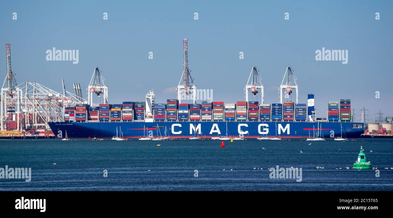 Container ship CMA CGM JEAN MERMOZ in Southampton docks, UK Stock Photo
