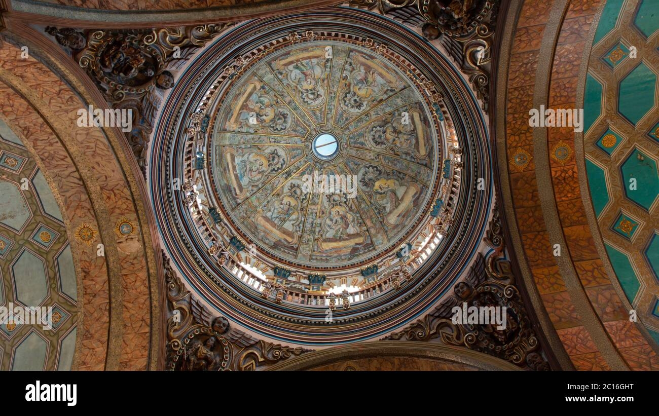 Quito, Pichincha / Ecuador - November 1 2019: View from below of the main dome of the church of El Sagrario in the historic center of Quito Stock Photo