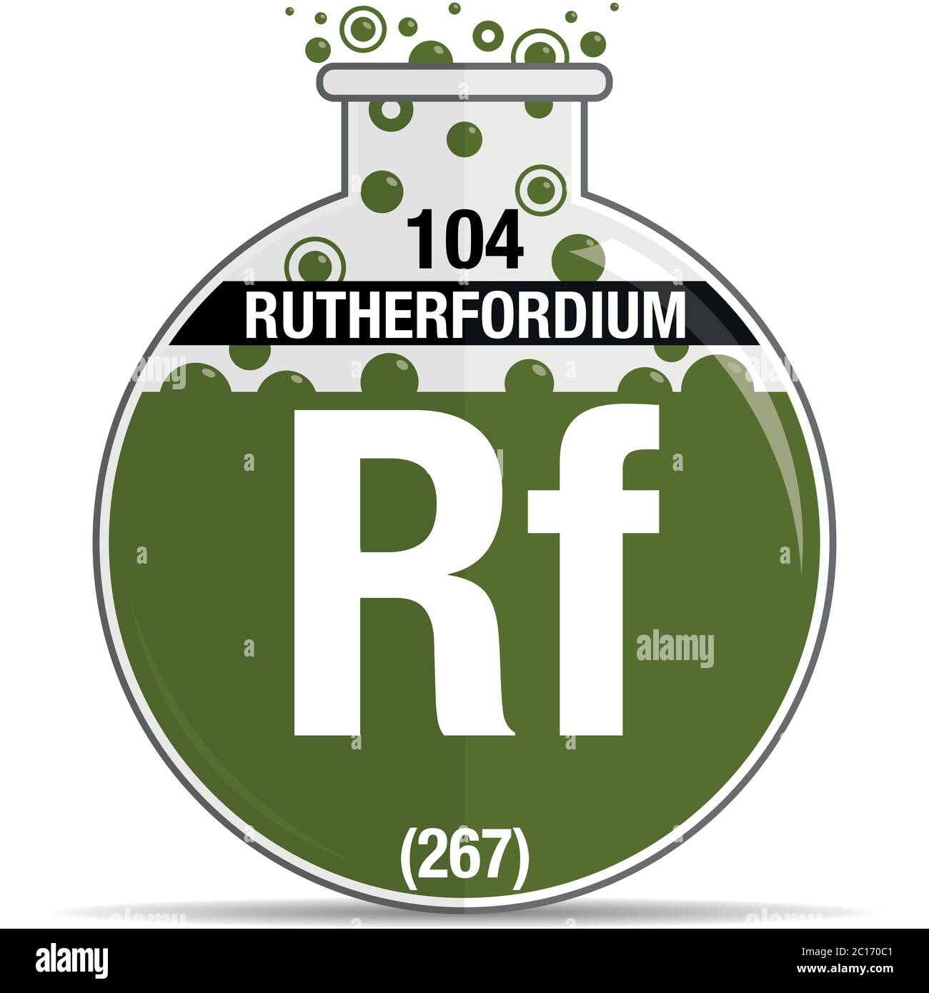 Rutherfordium symbol on chemical round flask. Element number 104 of the Periodic Table of the Elements - Chemistry. Vector image Stock Vector