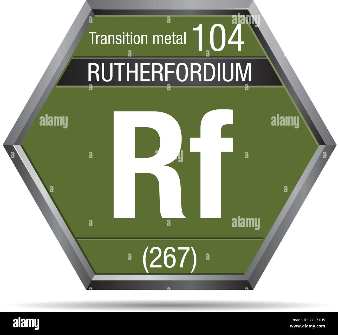 Rutherfordium symbol in the form of a hexagon with a metallic frame. Element number 104 of the Periodic Table of the Elements - Chemistry Stock Vector