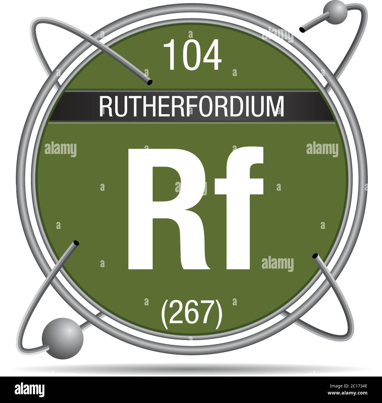 Rutherfordium symbol  inside a metal ring with colored background and spheres orbiting around. Element number 104 of the Periodic Table of the Element Stock Vector