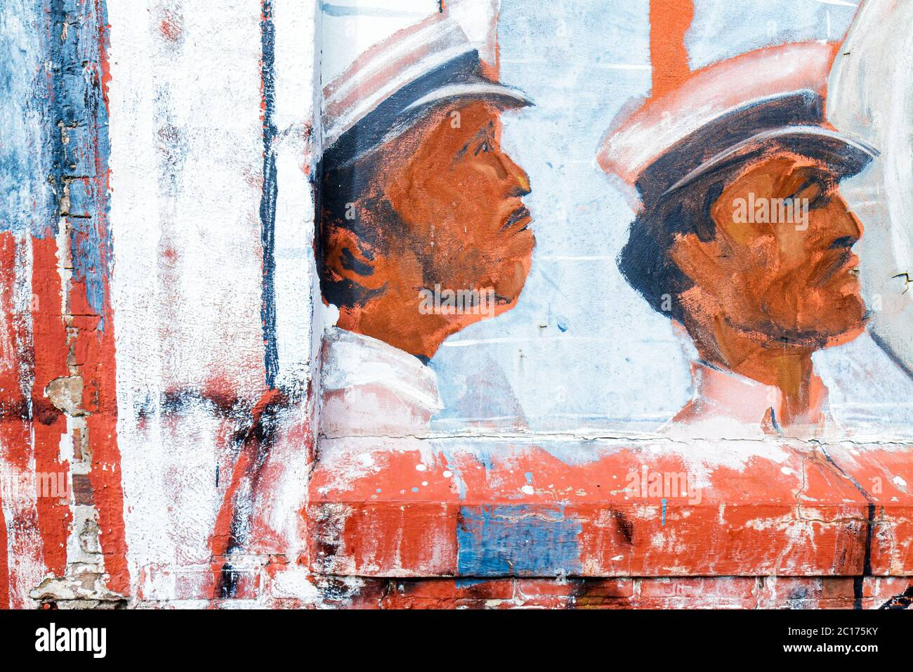 Louisiana, LA, South, Orleans Parish, New Orleans, Warehouse District, wall mural, painting, Black male, hat, profile, detail, close up, art, sightsee Stock Photo