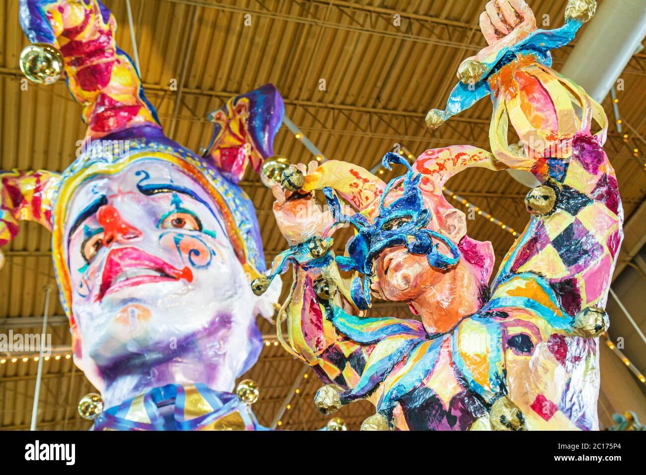 Louisiana, LA, South, Orleans Parish, New Orleans, Port of New Orleans, Riverwalk Marketplace, Mardi Gras Theme, decor, interior design, carnival, mas Stock Photo