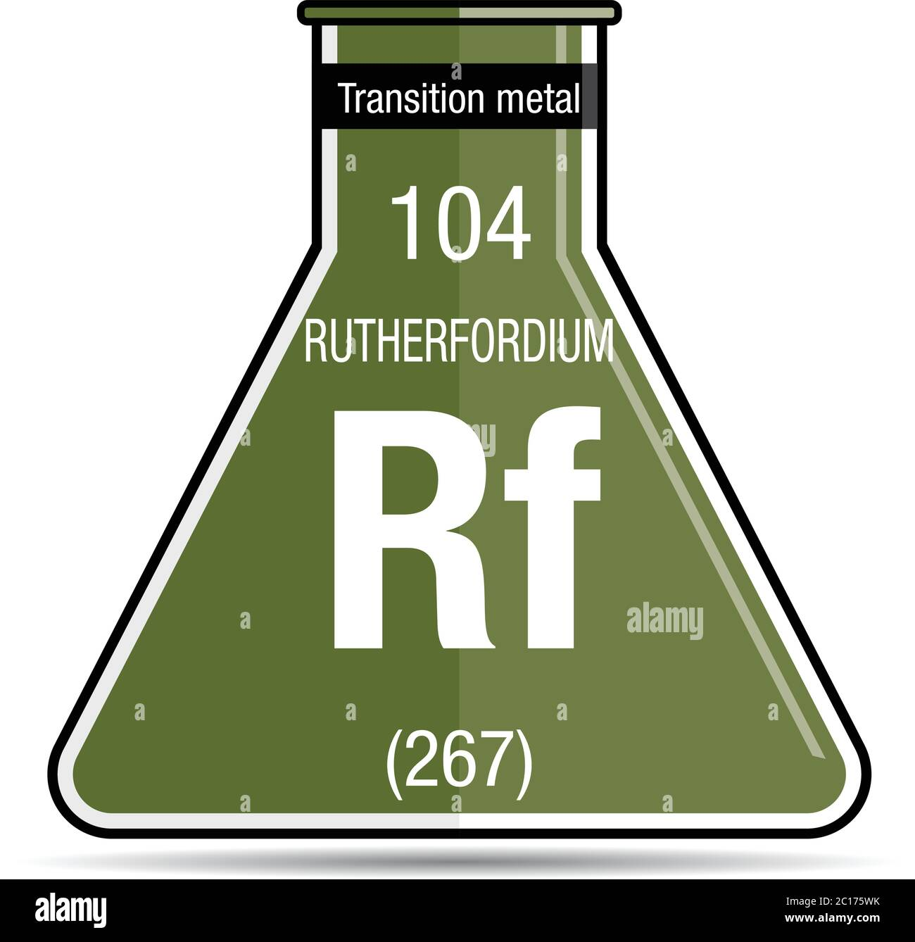 Rutherfordium symbol on chemical flask. Element number 104 of the Periodic Table of the Elements - Chemistry Stock Vector