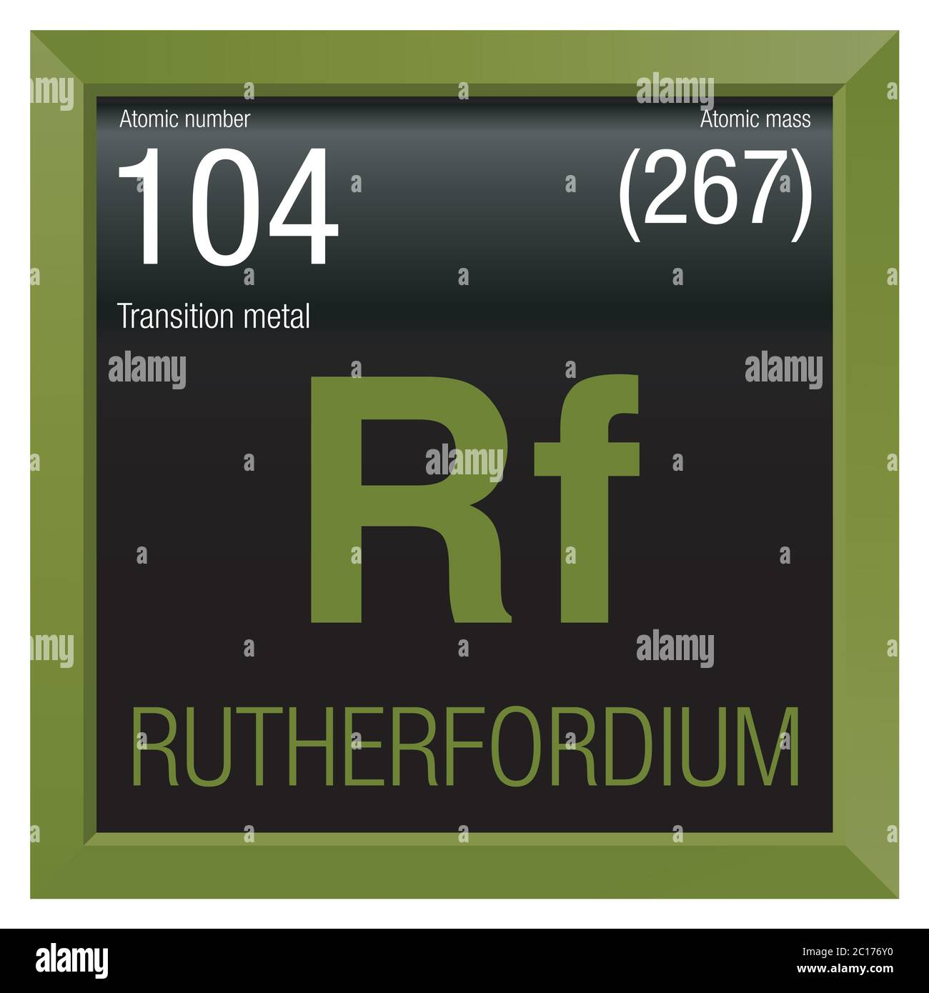 Rutherfordium symbol. Element number 104 of the Periodic Table of the Elements - Chemistry - Green square frame with black background Stock Vector