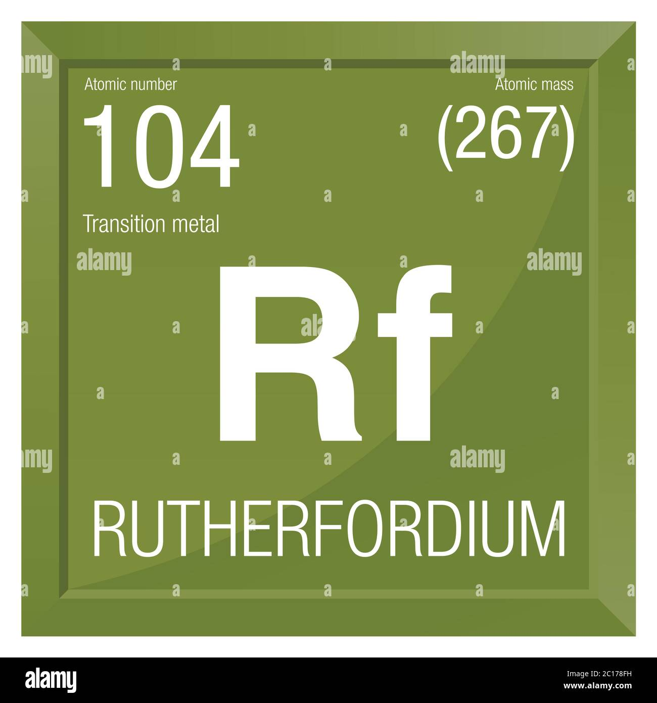 Rutherfordium symbol. Element number 104 of the Periodic Table of the Elements - Chemistry - Square frame with green background Stock Vector