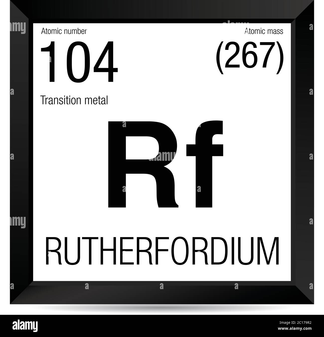 Rutherfordium symbol. Element number 104 of the Periodic Table of the Elements - Chemistry - Black square frame with white background Stock Vector