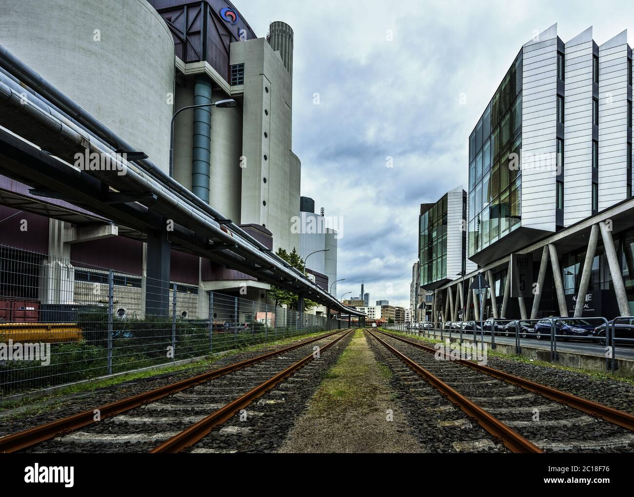 Industrial area at Westhafen Frankfurt Stock Photo