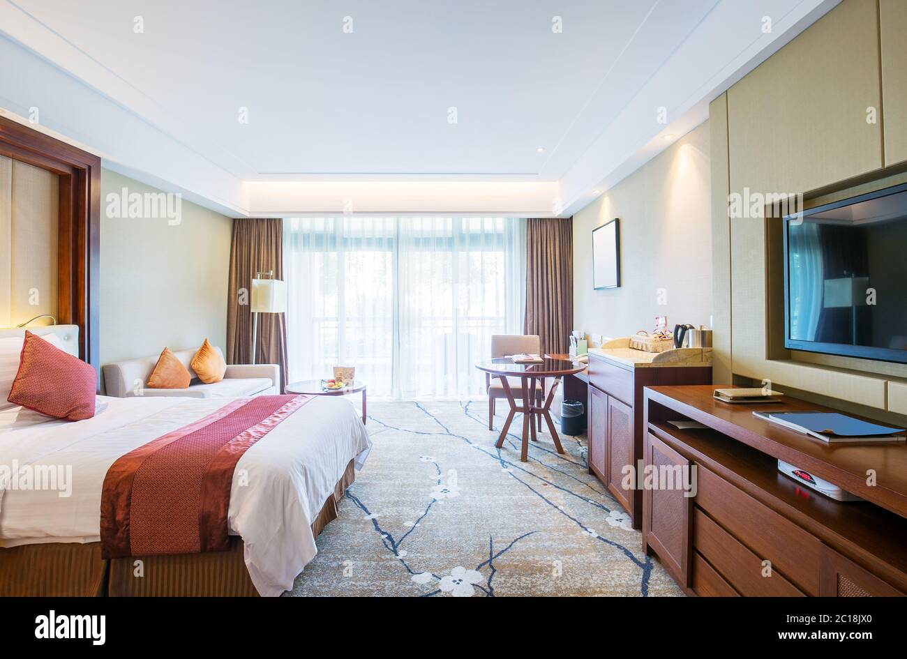 Interior Of Modern Twin Bed Room Stock Photo Alamy